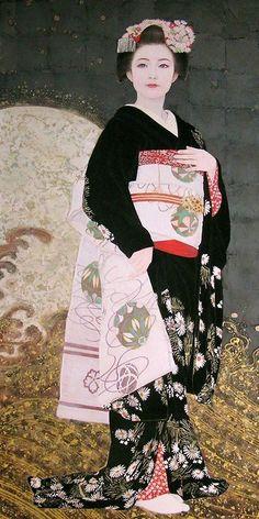 Geisha in Japanese black kimono - Kurokawa Masako Japanese Artwork, Japanese Painting, Japanese Prints, Chinese Painting, Japanese Kimono, Art Geisha, Art Chinois, Kunst Online, Art Asiatique