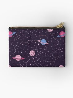 Constellations and Planets Pattern Studio Pouch by Anastasia Shemetova #constellation #constellations #pattern #cosmos #space #galaxy #universe #cosmic #stuff #things #stars #starry #saturn #planets #planet #moon #pink #pastel #goth #cute #purple #astronomy #art #faerieshop #buyonline #shopping #buy #sale #redbubble #accessories #pouches #bags #cosmetic #bag