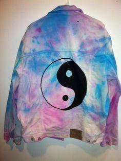 Tie-dyed ying-yang karma jean jacket.