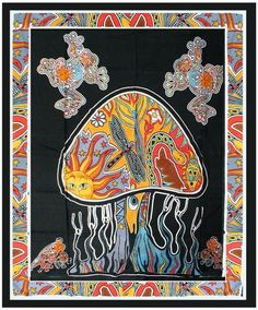 India Psychedelic Bohemian Mushroom Tapestry Boho Wall Hanging - Free Shipping Description Mesmerizing medallion tapestry crafted in soft woven cotton from Magical Thinking. Instantly adds a unique to
