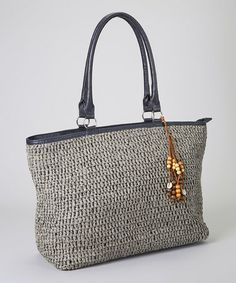 Gray & Brown Bead Woven Tote by Straw Studios #zulily #zulilyfinds