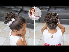 Here you can see more photos of First Communion Hairstyles But if you are more classical and your daughter also, you can choose a pickup like the one you see in the photograph below. Elegant Hairstyles, Loose Hairstyles, Communion Hairstyles, Curly Hair Styles, Natural Hair Styles, Girl Hair Dos, Première Communion, Long Black Hair, Long Braids