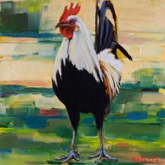 6x6 oil painting of a rooster, jeannedecosteart