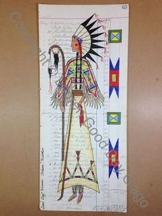 Lauren Good Day Giago: Arikara women wear feathers in honor of their male relatives war deeds. This piece depicts this tradtion with the war bonnet and crooked lance/ scalp dance staff.