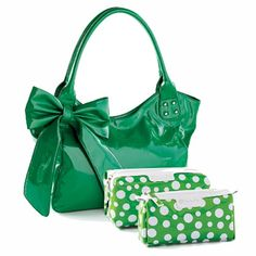 YOU'RE TEASING ME - GREEN VALUE SET - SET OF 2 - Green patent purse in animal friendly leather has a beautiful bow accent, 2 zippered pockets and 2 open pockets. A pair of green and white polka dot cosmetic bags complete the set. $49.00