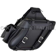 Deluxe Wide Angle M.C. Saddlebag | $504.00 | Fox Creek Leather Carries Only The Highest Quality, Made in USA Leather Motorcycle Jackets, Products, Clothing Leather Goods.