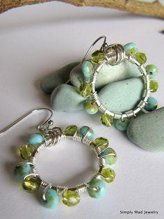 Silver Blue and Green Hoop, Dangle Earrings  #handmade  #thecraftstar  $18.00