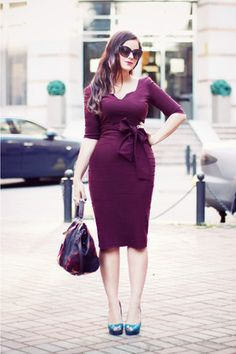 Plum dress + teal shoes