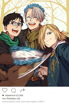 after pic from Vitja´s birthday-party  -  Yuuri Katsuki, Yuri Plisetsky, Viktor Nikiforov , Makkachin - Yuri on ICE