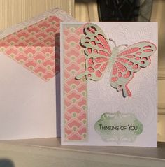 """Thinking of you card made using an image from the Cricut Everyday Pop-Up Cards cartridge and a ready made 5""""x6.5"""" card. The butterfly is from the Cricut cartridge, pg32, and was cut at 3"""". Glue top layer on body only, leaving wings free for a 3D effect. The front right side of the card was embossed with the Darice Henna folder. Created by: Melanie Weise"""