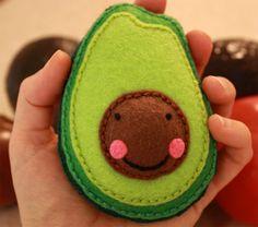 Avocado fruit vegetable plush toy, miniature embroidered pretend felt stuffed food, vegetarian vegan plushie, kawaii happy