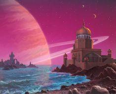 Rigel Colony Castle by AlanGutierrezArt on DeviantArt Space Fantasy, Sci Fi Fantasy, Fantasy Artwork, Alien Life Forms, 70s Sci Fi Art, Alien Worlds, Beautiful Nature Wallpaper, Fantasy Setting, Cyberpunk Art
