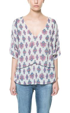 Image 1 of ETHNIC PRINTED TOP from Zara Zara Tops, Tunic Tops, Chic, Blouse, Pretty, Mood, Clothes, Printed, Women