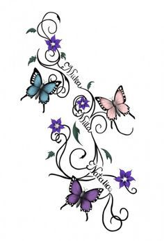 tattoos grandkids name | Butterflies tattoo sketch. By: Waktattoos.com I LIKE THIS IDEA BUT I ...