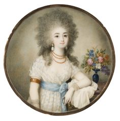 The Tansey Miniatures Foundation Lady in Chemise Dress with Blue Sash by Ignazio Pio Vittoriano Campana c. 1785