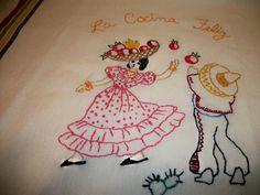 Three Hand embroidered dish towels La Cocina Feliz, The Happy Kitchen, Mexican motif