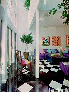 Popular designs by Memphis Milano inspired bright looks and bold geometric patterns. Rooms with neon colors and abstract art were the norm in the 1980s, such as in this Houston condominium from our September 1980 issue.   - HouseBeautiful.com