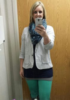 Mint, navy and gray....striped blazer and pattern scarf. ...Love this combo!!