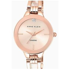 Anne Klein Diamond Marker Bangle Watch, 30mm ($75) ❤ liked on Polyvore featuring jewelry, watches, rose gold, diamond bracelet bangle, bangle bracelet, bangle bracelet watches, bangle wrist watch and bangle watches