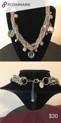 b1c8353da174 White House Black Market braided necklace Braided multi strand necklace  with silver and blush rhinestones White
