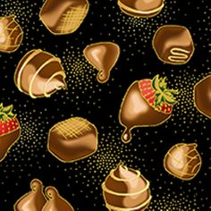 Hugs and Kisses Chocolates Gold Specks on Black Cotton Fabric