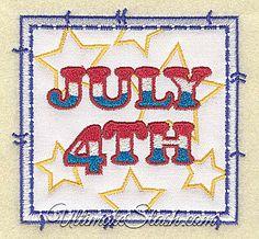 USA July 4th Square Applique Patch Machine Embroidery Design