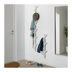 IKEA TJUSIG Hanger White 78 cm The hanger helps you transform an empty wall into a practical storage space for clothes, bags and shoes. Coat Storage, Small Storage, Storage Spaces, Ikea Tjusig, White Hangers, Boho Deco, Door Rack, Small Hallways, Dark Interiors