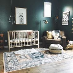 ALLLL about these dark moody walls in this boho nursery. Image: 2019 ALLLL about these dark moody walls in this boho nursery. Image: The post ALLLL about these dark moody walls in this boho nursery. Image: 2019 appeared first on Nursery Diy. Aztec Nursery, Dark Nursery, Baby Nursery Diy, Baby Nursery Themes, Baby Nursery Neutral, Boho Nursery, Baby Bedroom, Baby Boy Rooms, Nursery Room