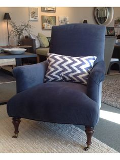 Rebecca Chair in Plymouth Dark Slate by Mitchell Gold and Bob Williams