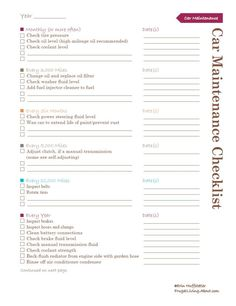 Car Maintenance Checklist  How to Keep An Old Car Running Smoothly: Monthly (or More Often)