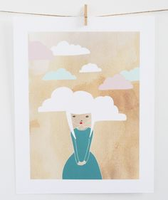 Head in the clouds - 8 x 10 Art print. €10,50, via Etsy.