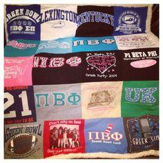 Pi Phi t-shirt quilt! #piphi #pibetaphi