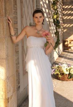 Chiffon double drape wedding dress with beaded empire band.