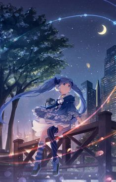 fuyu_no_yoru_miku hatsune_miku thighhighs vocaloid yue_yue Vocaloid Characters, Fanarts Anime, Anime Manga, Miku Kawaii, Kawaii Girl, Kawaii Music, Fantasy Anime, Kaai Yuki, Mikuo