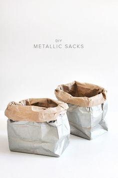 diy metallic sacks | almost makes perfect