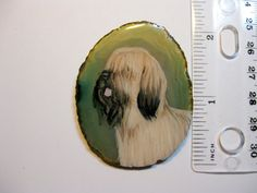 briard dog pin/pendant on agate