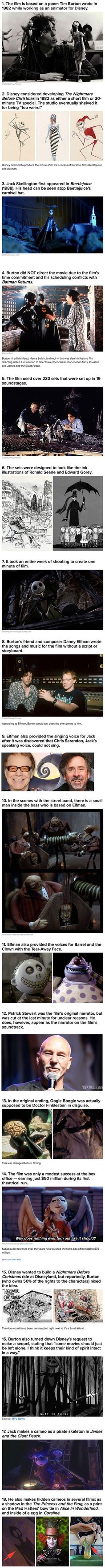 it's not Disney but still a great film-Here are some interesting things you probably did not know about The Nightmare Before Christmas. I really like Tim Burton and Danny Elfman! Movie Facts, Fun Facts, Weird Facts, Disney Love, Disney Magic, Disney And Dreamworks, Disney Pixar, Nightmare Before Christmas, Geeks