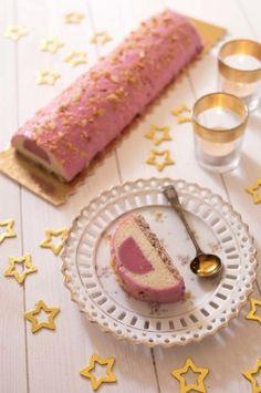 Photo recette Bûche de Noël légère framboises amandes