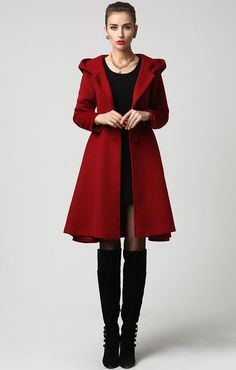 5420b2c70da8 Wool Coat Winter Coat Red coat hooded coat women coat Mantel Mit Kapuze,  Mäntel Frauen