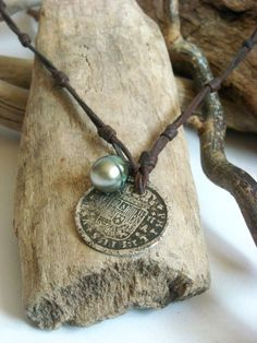 RESERVED Tahitian pearl and old silver coin hand by PerlaMundi, €160.00