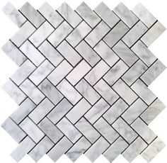 Carrara (Carrera) Bianco Honed 1x2 Herringbone Mosaic Tile - Amazon.com