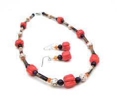 Fall pumpkin necklace - delicate orange and brown stone necklace - red coral, blue sodalite & brown jasper necklace by Sparkle City Jewelry