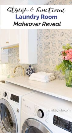 Do you need some ideas for remodeling your laundry room? In this post I'm showing you how I created a stylish functional laundry room done on a budget with tips on what to keep and repurpose and a handy shopping guide. Laundry Room Organization, Laundry Room Design, Organizing, Farmhouse Laundry Room, Laundry Rooms, Mud Rooms, Laundry Hacks, Ikea Dresser Hack, Kitchen