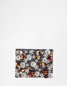 Image 1 of ASOS Co-ord Flower Embellished Sequin Clutch Bag