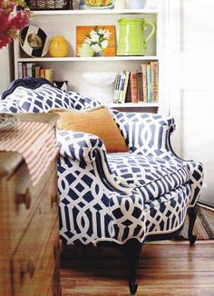 Beautiful navy Imperial Trellis Upholstered chair