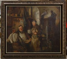 Lot 291: European School (Late 19th / Early 20th Century) Oil on Canvas; Undated, unsigned, depicting three people by a table with beer and two people working in the background