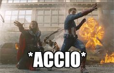 Captain America and Thor battling aliens, wizard style