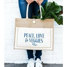 Jute Market Tote- peace, love, and veggies