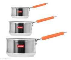 Checkout this latest Pots Product Name: *22 Gauge Heavy Stainless Steel Belly Sauce Pan (1,1.5,2 Liter)* Material: Stainless Steel Pack: Pack of 3 Length: 33 cm Breadth: 18 cm Height: 10 cm Size (in ltrs): 4.5 L Country of Origin: India Easy Returns Available In Case Of Any Issue   Catalog Rating: ★4.2 (956)  Catalog Name: Classy Pots CatalogID_3209195 C137-SC1596 Code: 695-16140707-7131