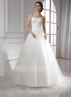 Ball-Gown Sweetheart Chapel Train Lace Beading Zipper Up Strapless Sleeveless Church General Plus Winter Spring Summer Fall Ivory Tulle Wedding Dress